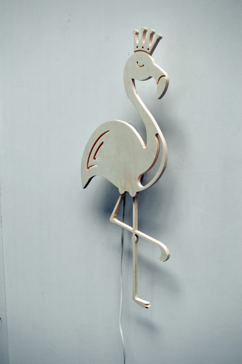 Wandlampje flamingo 04